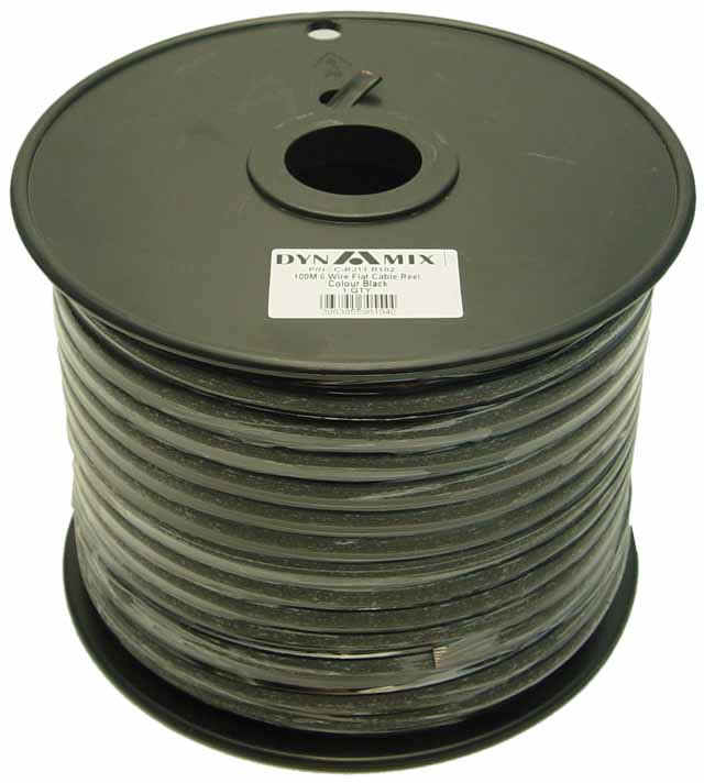 Dyanmix 100M Roll 6 Wire Flat Cable. Black colour on a plastic reel