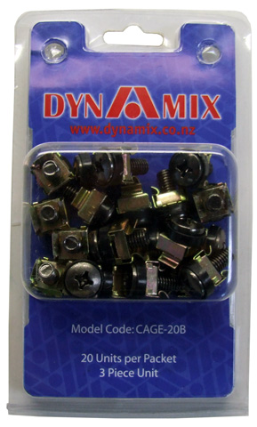 Dynamix 20pc Pack Black 3 Piece Cage Nut