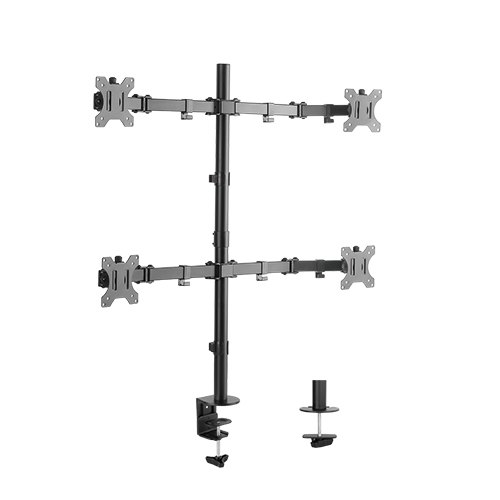 Brateck Economical Double Joint Articulating Quad Monitor Desk Mount Bracket for 13-32 Inch Flat Panel TVs or Monitors - Up to 8kg per Screen