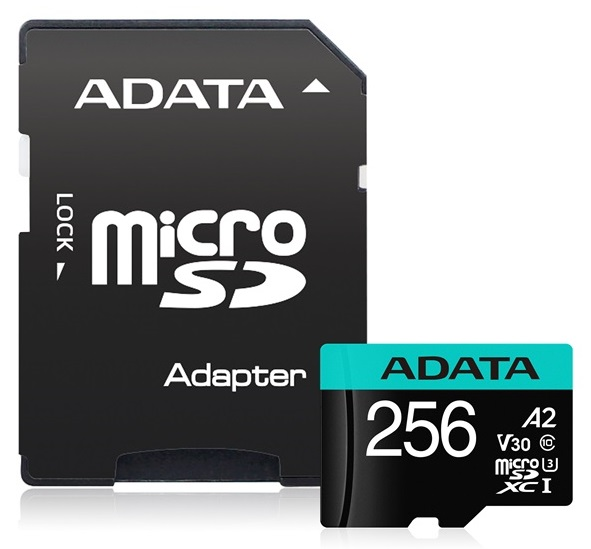 ADATA Premier Pro 256GB Class 10 UHS-I U3 V30 microSDHC Card with Adapter