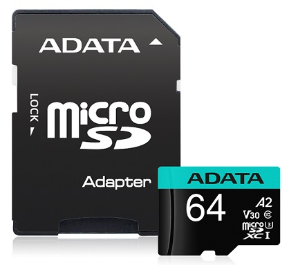 ADATA Premier Pro 64GB Class 10 UHS-I U3 V30S microSDHC Card with Adapter