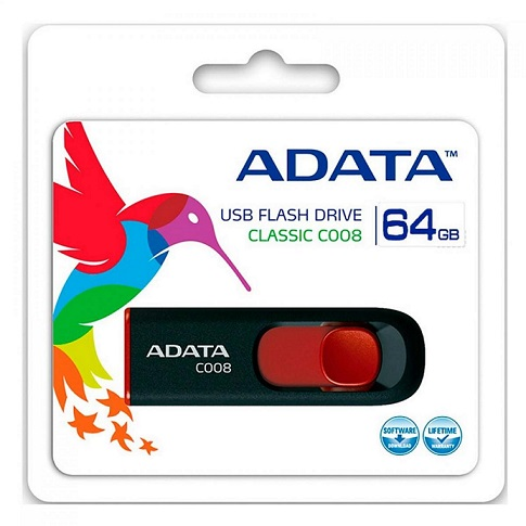 ADATA C008 64GB Retractable USB 2.0 Flash Drive - Black