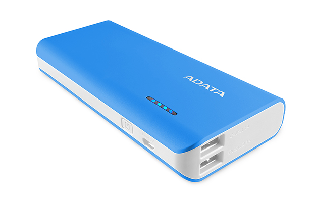 ADATA PT100 10000mAh Dual Port USB Power Bank with LED Flashlight - Blue/White
