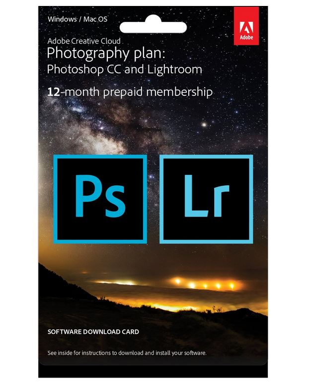 Adobe Creative Cloud Photography Plan (Photoshop + Lightroom) - 12 Month Prepaid Card