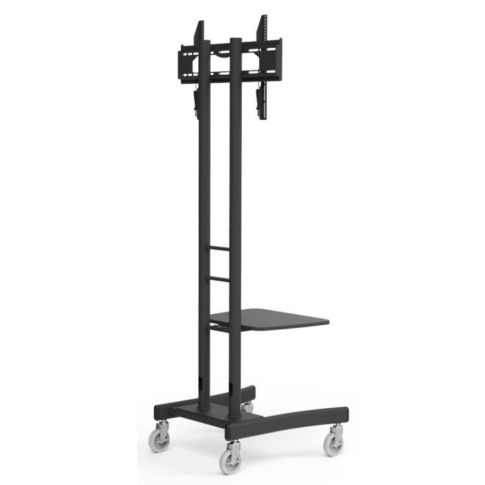 Atdec AD-TVC Height Adjustable Single Display Mobile Trolley Cart Floor Mount for Flat Panel TVs or Monitors with Lockable Castors & Adjustable Shelf - Up to 50kg