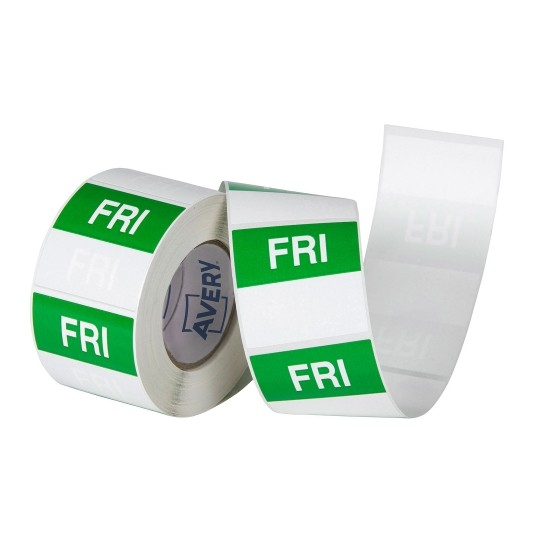 Avery 40mm Friday Square Label Green/White - 500 Labels