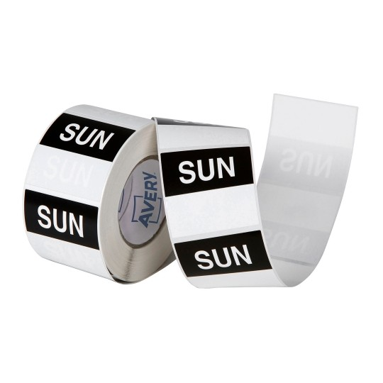 Avery 40mm Sunday Square Label Black/White - 500 Labels