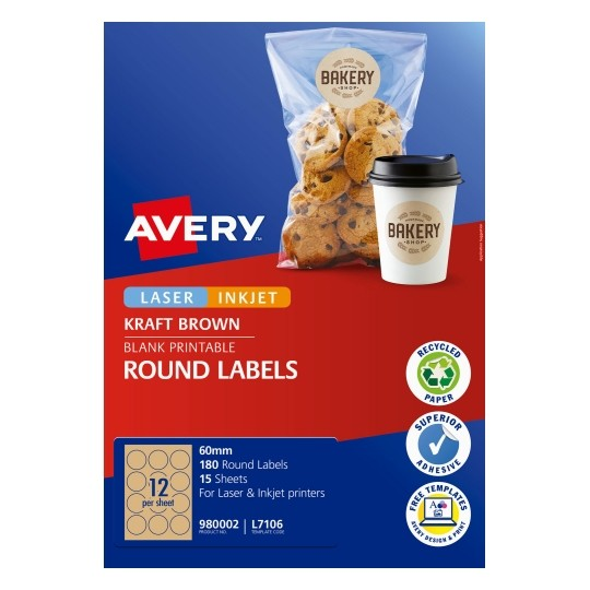 Avery L7106 Kraft Brown Laser Inkjet 60mm Round Permanent Labels - 180 Pack