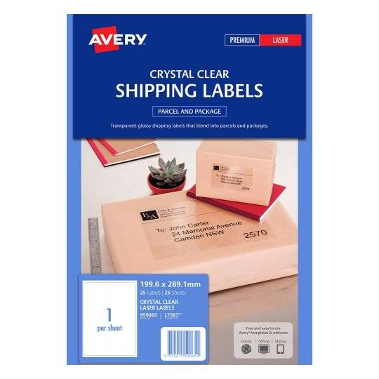 Avery L7567 Crystal Clear Laser 199.6 x 289.1mm Permanent Shipping Labels - 25 Pack
