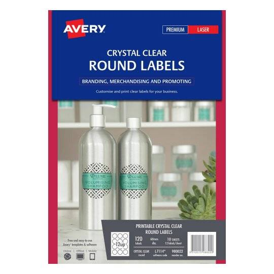 Avery L7114 Crystal Clear Laser 60mm Round Permanent Product Labels - 120 Pack