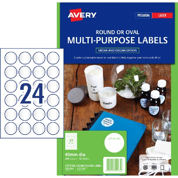 Avery L7106 Glossy Crystal Clear Laser 40mm Round Permanent Product Labels - 240 Pack