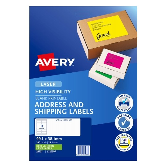 Avery L7163FG Fluoro Green Laser 99.1 x 38.1 mm High Visibility Shipping Label - 25 Sheets
