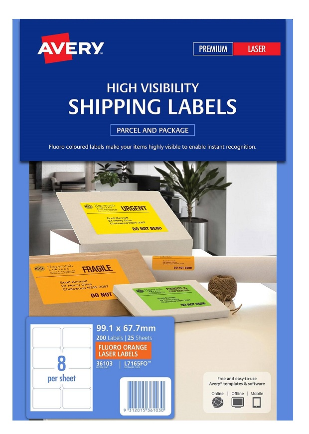 Avery L7165FO Fluoro Orange Laser 99.1 x 67.7mm Permanent Visibility Shipping Labels - 200 Pack