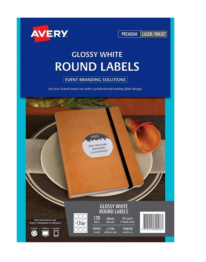Avery L7100 Glossy White Laser Inkjet 60mm Round Permanent Labels – 120 Pack