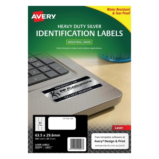 Avery L6011 Silver Laser 63.5 x 29.6mm Extra Strong Permanent Heavy Duty Identification Label – 540 Labels