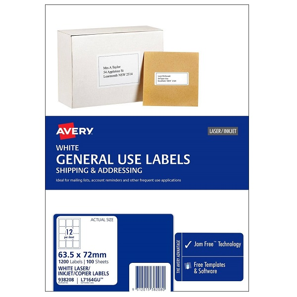 Avery L7164GU White Laser Inkjet 63.5 x 72mm Permanent General Use Labels - 1200 Pack