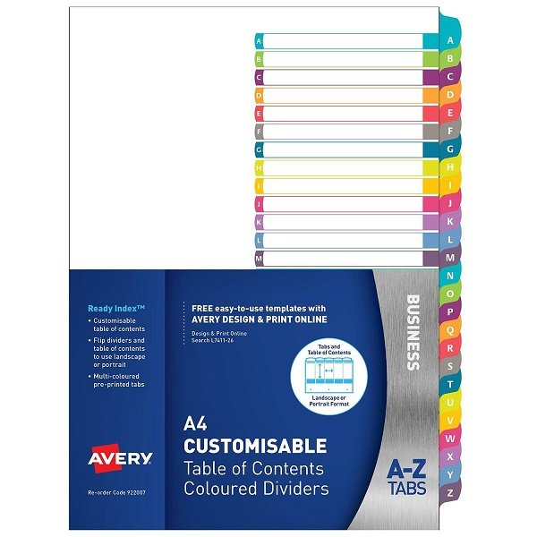 Avery L7411-26 Multi-Coloured A4 Laser Inkjet Customisable A-Z Dividers - 26 Tabs