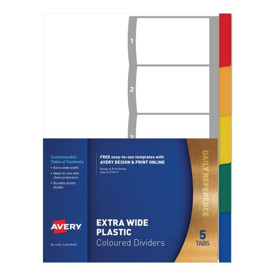 Avery L7411-5 A4 Laser Inkjet Coloured Extra Wide Plastic Divider - 5 Tabs