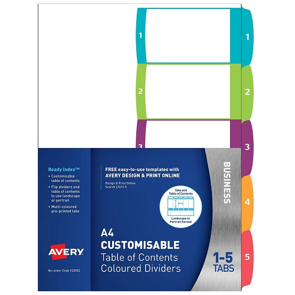 Avery L7411-5 Multi-Coloured A4 Laser Inkjet Customisable Dividers - 5 Tabs