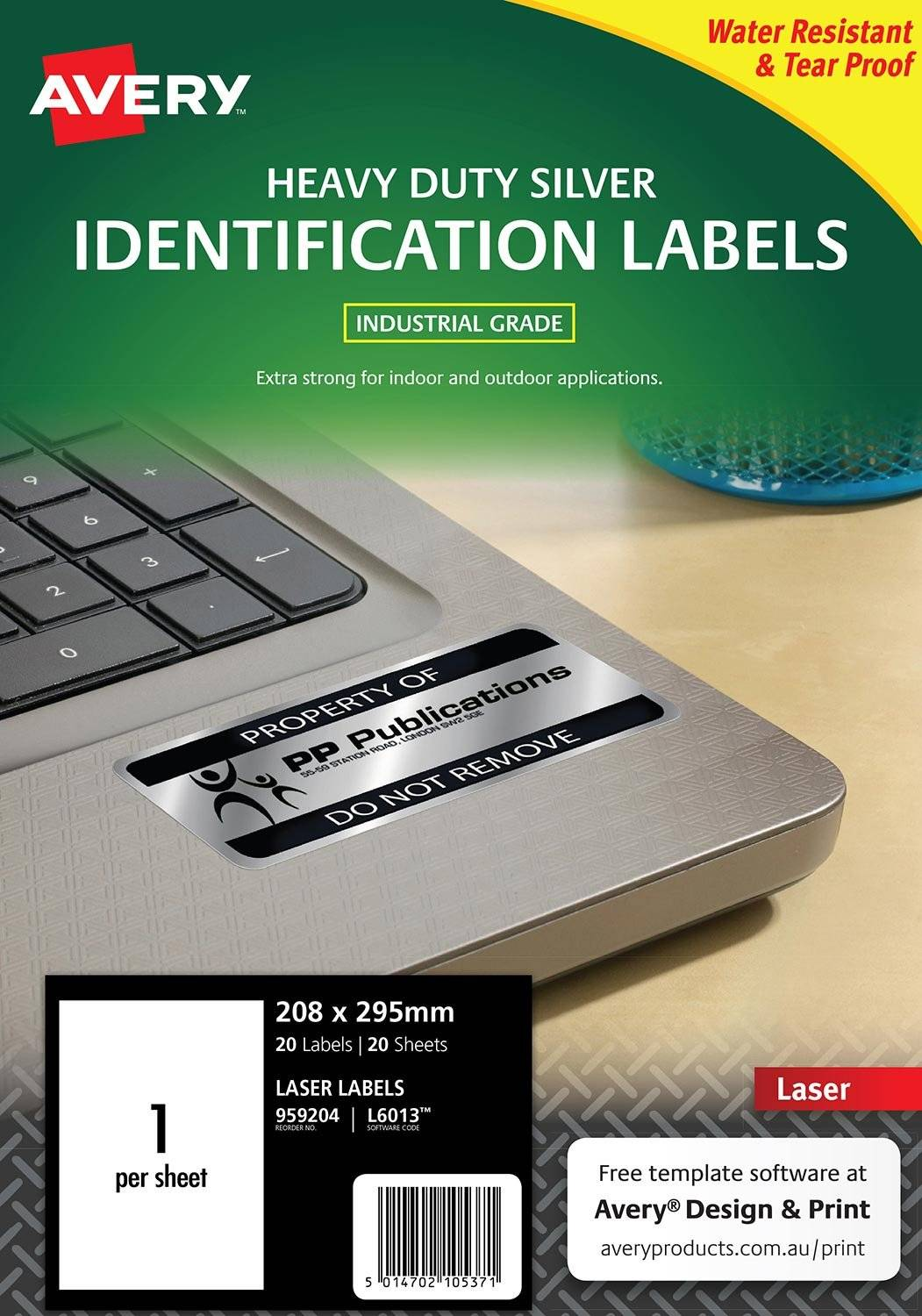 Avery L6013 Silver Laser 295 x 208mm Extra Strong Permanent Heavy Duty Labels – 20 Pack