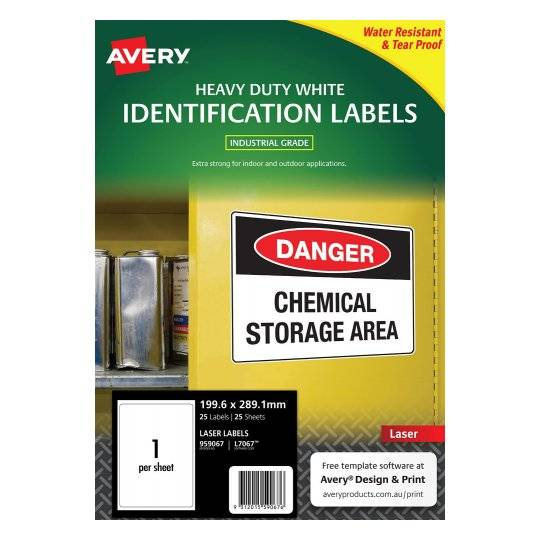 Avery L7067 Polyester White Laser 199.6 x 289.1mm Extra Strong Permanent Heavy Duty Labels - 25 Pack