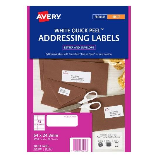 Avery J8157 White Inkjet 64 x 24.3mm Permanent Quick Peel Address Labels with Sure Feed - 1650 Pack