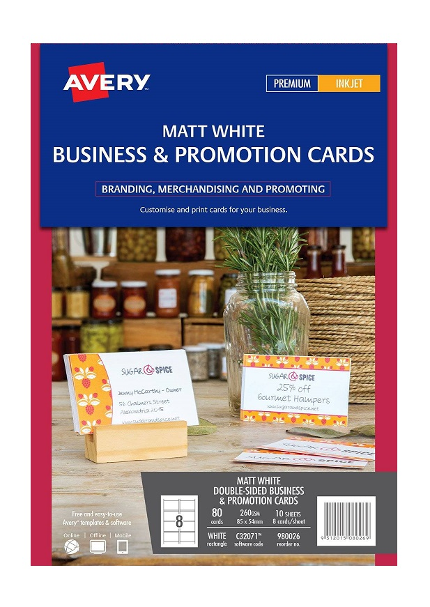 Avery C32071 Matte White Inkjet 85 x 54mm Double Sided Business and Promotion Cards – 80 Pack