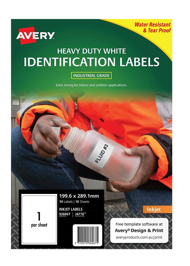 Avery J4776 White Inkjet 199.6 x 289.1mm Extra Strong Permanent Heavy Duty Labels – 10 Pack