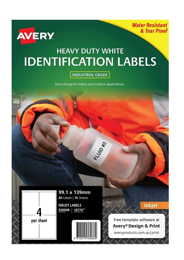 Avery J4774 White Inkjet 99.1 x 139mm Extra Strong Permanent Heavy Duty Labels – 40 Pack