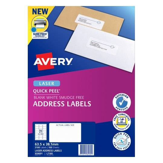 Avery L7160 White Laser 63.5 x 38.1mm Permanent Quick Peel Address Labels with Sure Feed - 2100 Pack