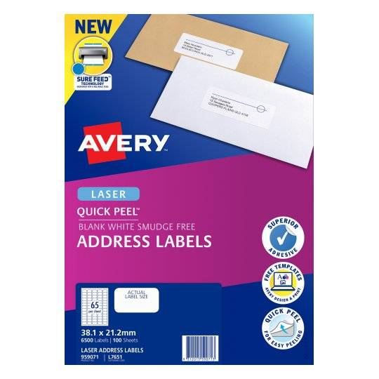 Avery L7651 White Laser Address Labels 381 X 212mm Elive Nz