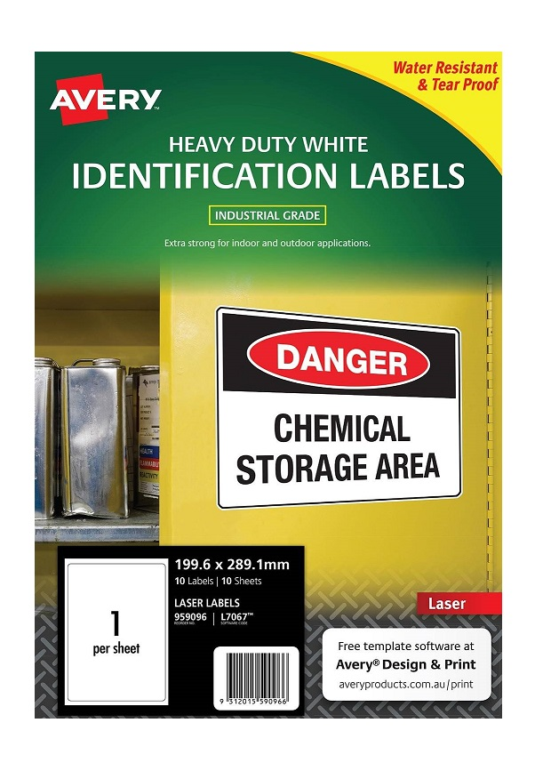 Avery L7067 White Laser 199.6 x 289.1mm Extra Strong Permanent Heavy Duty Labels – 10 Pack