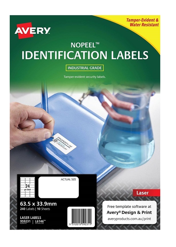 Avery L6146 White Laser 63.5 x 33.9mm Extra Strong Permanent No Peel Labels – 240 Pack