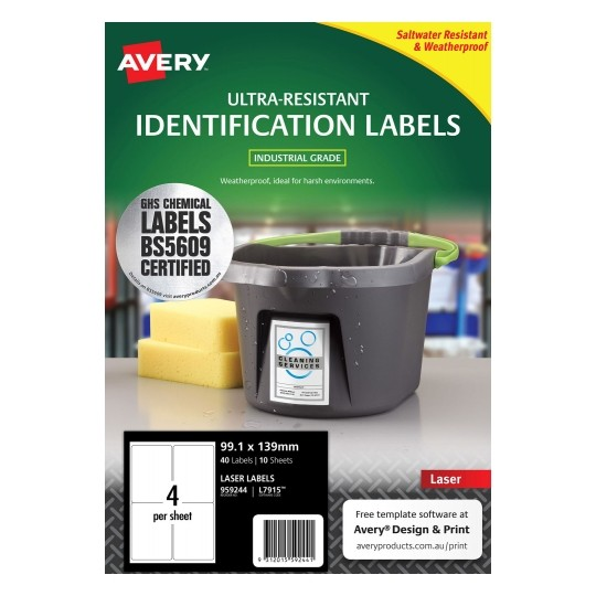 Avery L7915 White Laser 99.1 x 139mm Extra Strong Permanent Ultra-Resistant Chemical Grade Labels – 40 Pack
