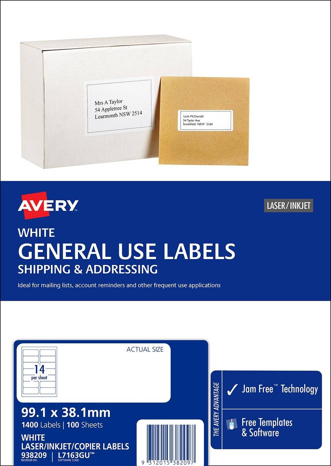 Avery L7163GU White Laser Inkjet 99.1 x 38.1mm Permanent General Use Labels – 1400 Pack