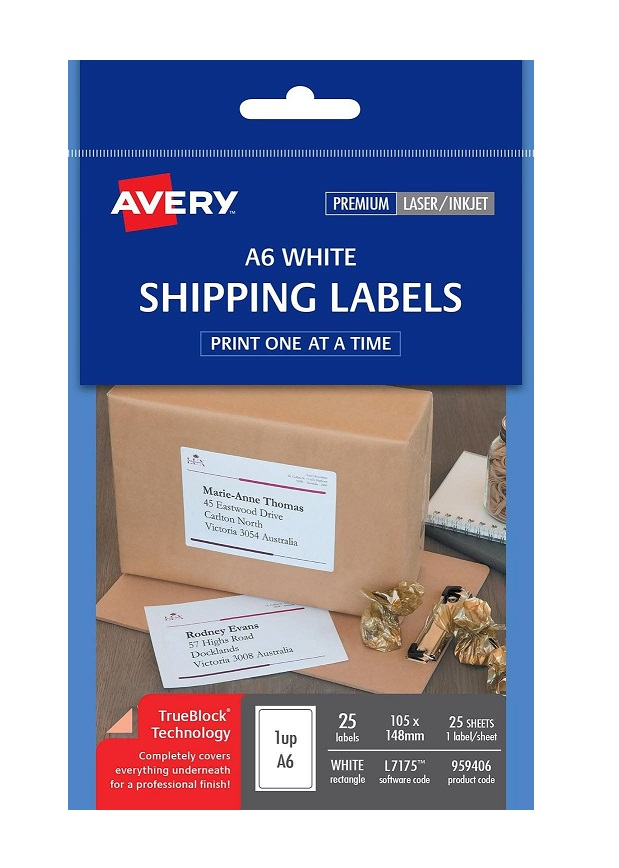 Avery L7175 White Laser Inkjet 105 x 148mm Permanent A6 Shipping Labels – 25 Pack