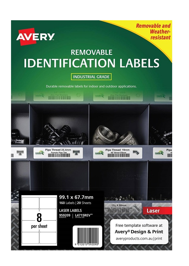 Avery L4715REV White Laser 99.1 x 67.7mm Removable Heavy Duty Labels – 160 Pack