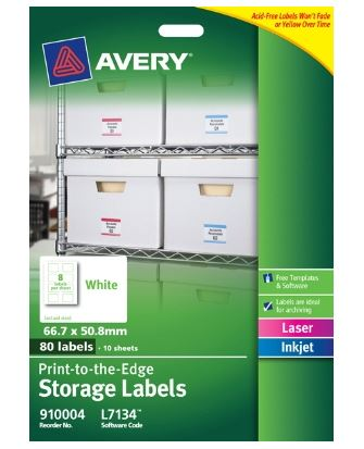 Avery L7134 White Laser Inkjet 66.7 x 50.8mm Permanent Storage Labels - 80 Pack