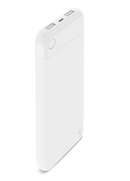 Belkin BoostUP Charge 10000mAh Dual USB-A Powerbank with Lightning Charging Port - White