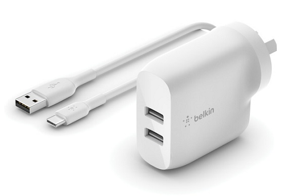 Belkin BoostUP Charge Dual USB-A 24W Wall Charger with 1m USB-A to USB-C Cable - White