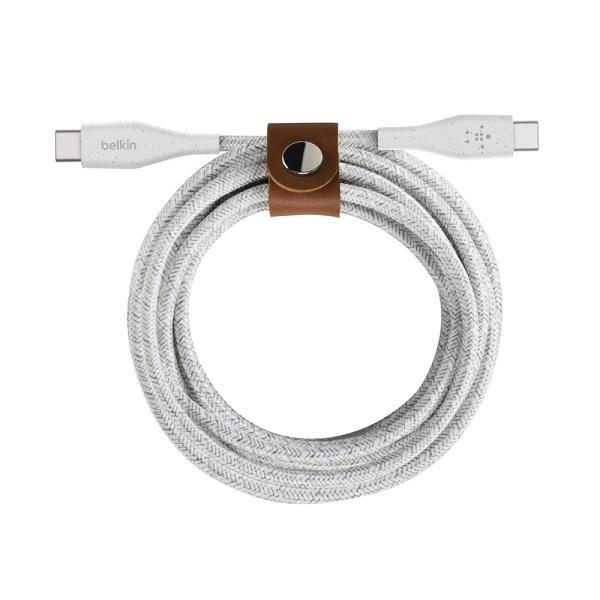 Belkin BoostUP Charge 1.2m USB-C Duratek Charge & Sync Cable with Strap - White