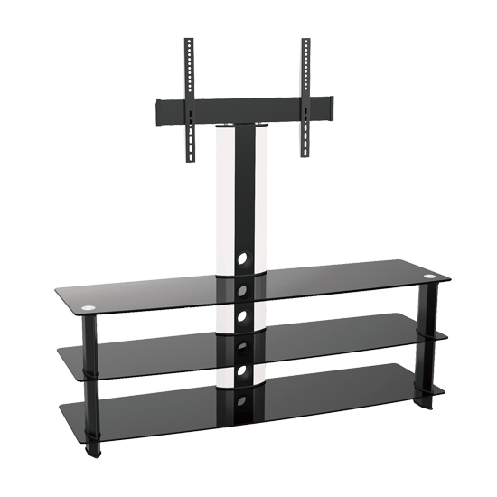 Brateck Elegant Aluminum Glass and Metal Entertainment Mount Stand Unit for TVs or Monitors - Up to 40kg / 32-60 Inch (Flat Pack)