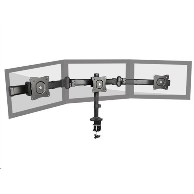 Brateck Articulating Triple Monitor Desk Mount Bracket for 13-27 Inch Flat Panel TVs or Monitors - Up to 8kg