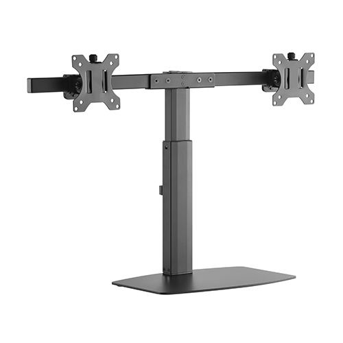 Brateck Pneumatic Vertical Lift Dual Monitor Desk Stand for up to 17-27 Inch Curved & Flat Panel TVs or Monitors - Up to 6kg per Screen