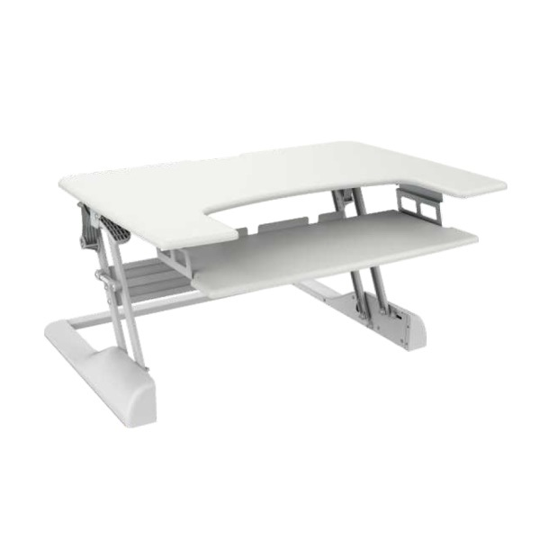 Brateck Height-Adjustable Sit-Stand Desktop Workstation with 900mm Wide Work Surface - White
