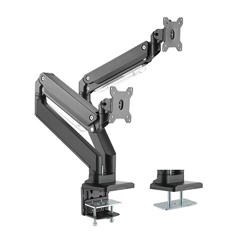 Brateck Heavy-Duty Gas Spring Dual Monitor Desk Mount Bracket for 17-35 Inch Curved & Flat Panel TVs or Monitors - Up to 15kg