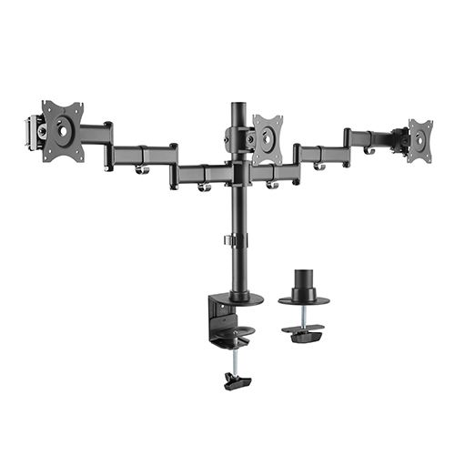Brateck Economy Steel Triple Desk Mount Bracket for 13-27 Inch Flat Panel TVs or Monitors - Up to 8kg per arm