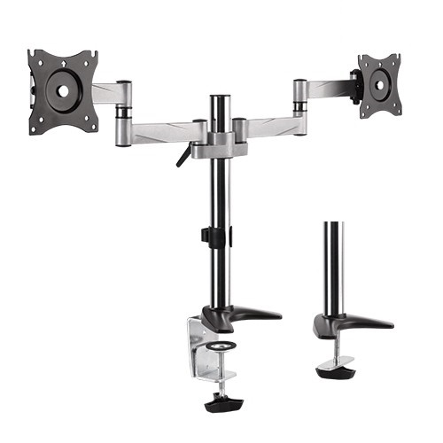 Brateck Aluminum Dual Monitor Desk Mount Bracket for 13-27 Inch Flat Panel TVs or Monitors - Up to 8kg per arm