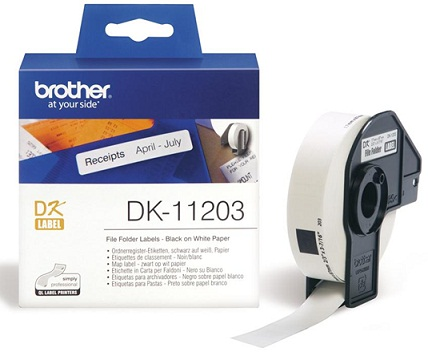 Brother DK11203 17mm x 87mm Black on White File Folder & Address Labels