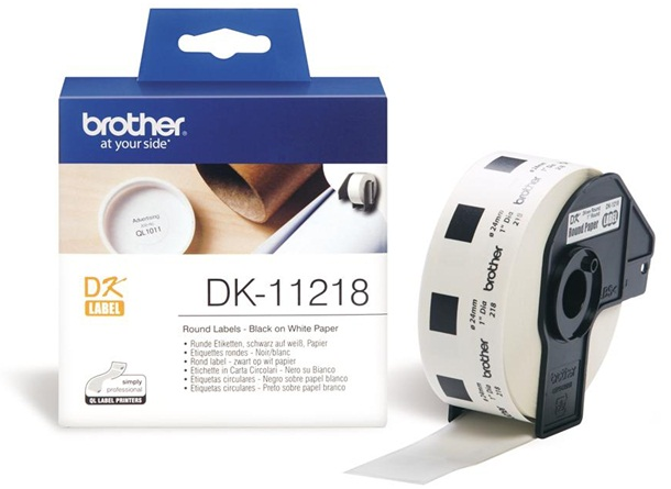 Brother DK11218 24mm Black on White Round Labels